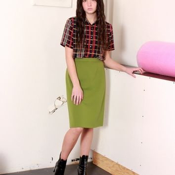Olive Green A Line Skirt / M