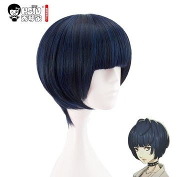 HSIU NEW High quality Tae Takemi Cosplay Wig persona5 Short Blue Black Mixed Costume Play Wigs Halloween Costumes Hair