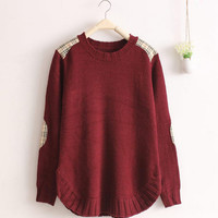 Wine Red Plaid Cloth Patch Stitching Loose Skirt Sweater