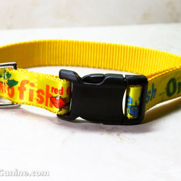 Dr. Seuss dog collars : One Fish Two Fish Red Fish Blue Fish 1 inch regular width buckle OR martingale dog collar