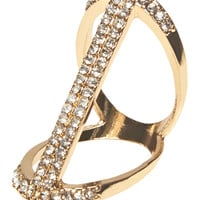 Geometric Rhinestone Bar Ring | Wet Seal