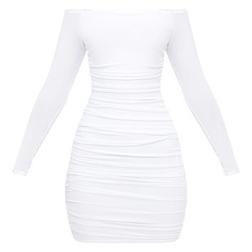 White Bardot Ruched Bodycon Dress