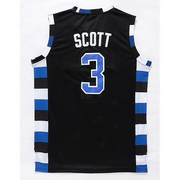 One Tree Hill Ravens Basketball Jerseys #3 Lucas Scott Black