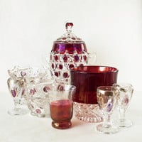 Vintage Glass Candy Dish Ruby Flash Cranberry Glass