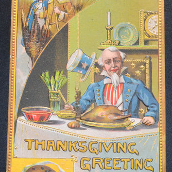 Thanksgiving Postcard, Antique Postcard, Thanksgiving Ephemera,Uncle Sam Thanksgiving
