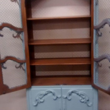 Vintage French Provincial /Country French Cottage Armoire/ Linen Cabinet /  Curio / Cupboard /