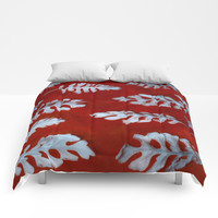 White leaves on red Comforters by Scott Hervieux