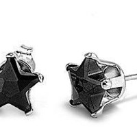 Sterling Silver Black CZ Stud Earrings Lucky Star Nickel Free Fine 925 Jewelry