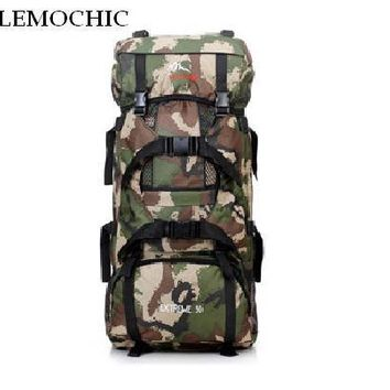 LEMOCHIC 80L new military camouflage tactical outdoor climbing mountaineering spots bag travel hiking Travel Camping backpack