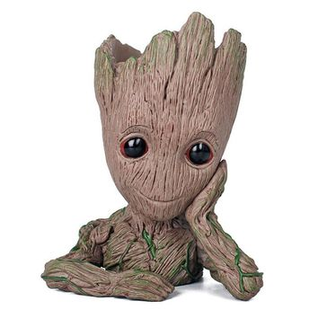 Creative Cartoon Groot Flower Pot Planter Vase Home Office Desktop Decoration Vase Action Figure Tree Man Pen Holder