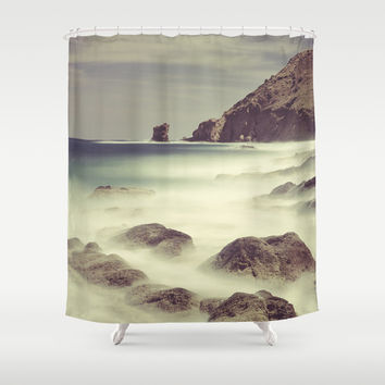 Water. Volcanic rocks. Shower Curtain by Guido Montañés