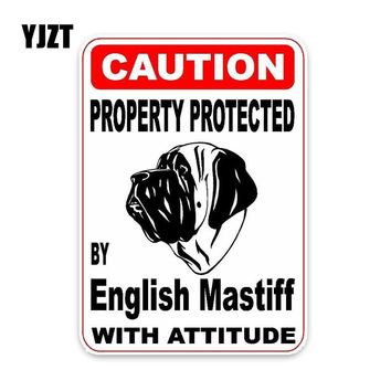 YJZT 10*14.2CM Property Protected By English Mastiff Dog Car Decoration Bumper Window Sticker C1-4431