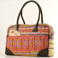 Overnight Weekender Travel Bag Ethnic Embroidered, Tribal, Gypsy, Boho, Hippie Style Carry on baggage, Suitcase, For Women/Men