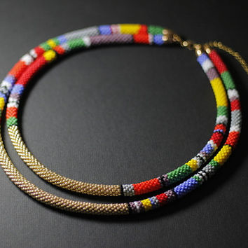 Layered African Necklace, African Beadwork, Double Strand Necklace, Maasai Necklace, Two Strand, Golden Necklace - MADE TO ORDER