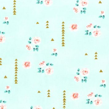 Rosemilk in Mint Floral Fabric By The Yard | 100% Cotton