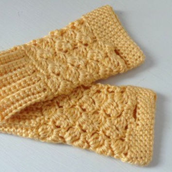 Dark yellow womens fingerless gloves