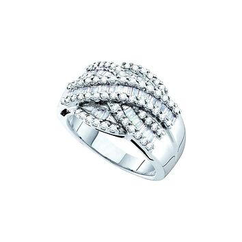 14kt White Gold Womens Baguette Round Diamond Crossover Cocktail Band Ring 1.00 Cttw