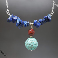 Turquoise Necklace Lapis Chips Bar Turquoise Flower Necklace