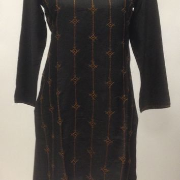 Tussar Silk Kurti with detail Hand Embroidery- Black