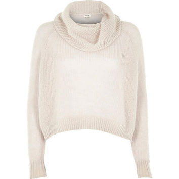 River Island Womens Grey mohair cowl neck knitted sweater