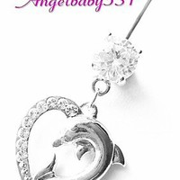 Beautiful Clear Gem Dolphin Heart Dangle Belly Ring Bar Navel Ring STUNNING