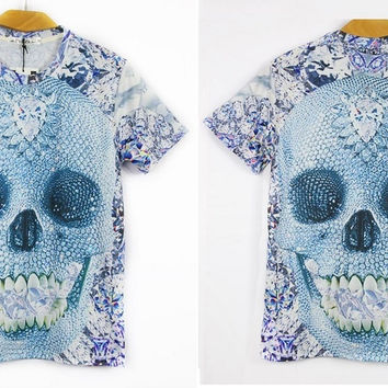 Men's 3D Skull Print  Athletic Shirt Solid Top Party Shirt Fashion Wear