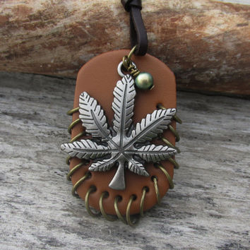 Personalized Pot Leaf Necklace, Swarovski Birthstone Pearl, Pewter Hemp Charm, Leather, Antique Bronze Rings, Adjustable Cord Necklace, Herb