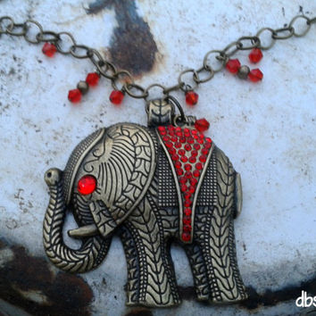 Elephant Necklace Ruby Red Crystals Antique Brass Red Swarovski Crystal Chain Pendant Antique Brass Chain
