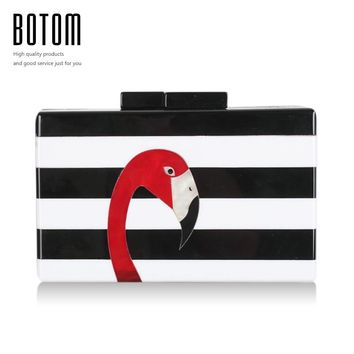 2017 Hot Sale Fashion Evening Bags Lovely Flamingos Classic Acrylic Day Clutch For Women Recommend Ladies Party Bags Handbags