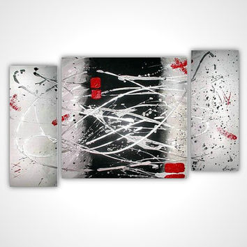 White abstract painting - Abstract red painting - Red and white art - Modern art - Modern oil painting - Contemporary canvas art - black