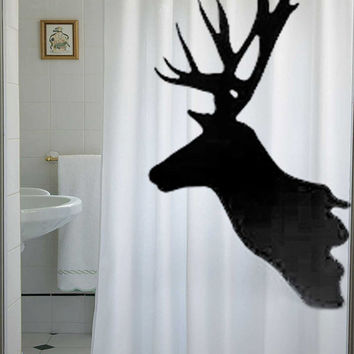 Deer Shower Curtain Buck Reindeer Antlers Moose Magestic animal doe stag