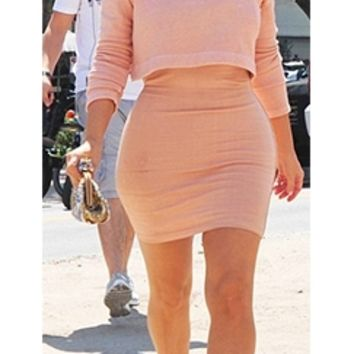 Peach Crop Long Sleeve Turtleneck Top Sexy Stretch Bodycon Mini Skirt Two Piece Dress