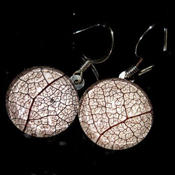 Skeleton Leaf of Salal Earrings, Plant jewelry, leaf jewellery, woodland, rustic, antique copper, brown, nature jewellery, forest
