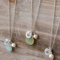 Briolette Initial Necklace - Handstamped Sterling Silver Circle - Freshwater Pearl - Amazonite, Rose Quartz, New Jade, Clear Crystal