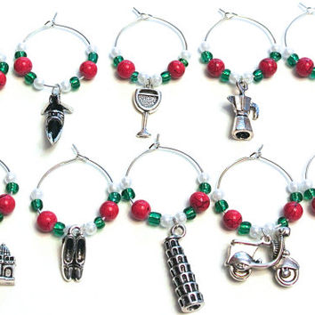 Italy Wine Glass Charms- Set of 10 Italy Wine Glass Tags with Red, White, & Green Beads, Glassware Accessories, Italian Flag Colors