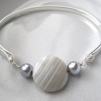 Silver Bangle Bracelet / Silver Bangle with Grey Bead and Pearls / Dainty Wire Wrapped Bracelet