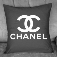 Black Throw Pillow w/ White Chanel logo - by BellaCoutureClothing
