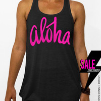 Aloha - Black with Pink Flowy Tank Top