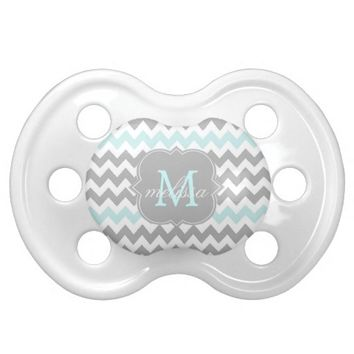 Gray Aqua Chevron Monogram Pacifier
