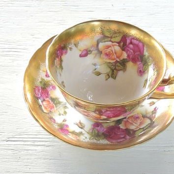 On Sale Royal Chelsea Golden Rose Tea Cup Set Fine English Bone China Elegant Tea Party Signed 3483A