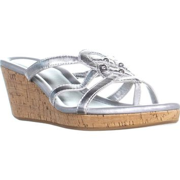 Cole Haan Shayla Thong Wedge Sandals, Argento Metallic, 6 US