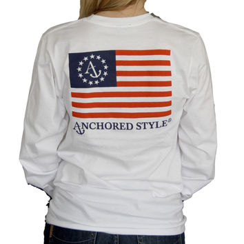 Anchored Ensign Flag Long Sleeve T-Shirt - White