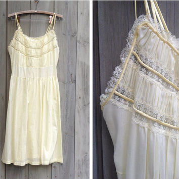 Vintage nightgown | Pale yellow Gotham Gold Stripe peignoir