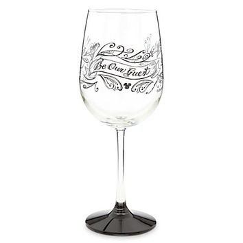 Disney Parks Be Our Guest Chalkboard Stemmed White Wine Glass New