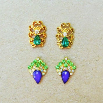 4 pc Elegant Nail Charm, Gold Hollow Nail Art, Green Rhinestones 3d Nail Art, Purple Nails, wedding Nails, young Nails, Gift, Womens, Salon