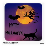 Happy Halloween Moon and Silhouettes Wall Decal