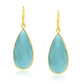 Sterling Silver Yellow Gold Plated Teardrop Aqua Chalcedony Earrings