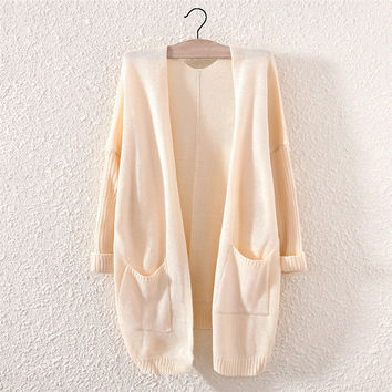 Candy Color Women's Comfortable Soft Cardigan with Pockets