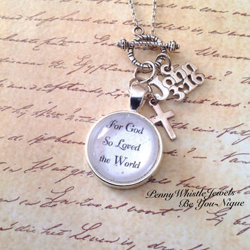 Bible Verse Necklace, Scripture Necklace, John 3:16, Bible Verse Jewelry, Scripture Jewelry, Christian Jewelry, Religious Jewelry