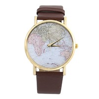 DAYAN Fashion Men Women Classic Luxury World Map Leather Band Analog Quartz Wrist Watches Brown